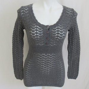 Ann Taylor LOFT Gray Crochet Sweater Women's XS
